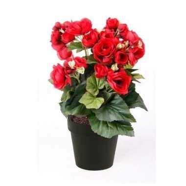 Rood begonia kunstbloem 30 cm