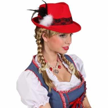 Rood bierfeest hoedje voor dames