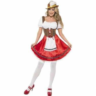 Rood/bruin oktoberfest jurkje voor dames