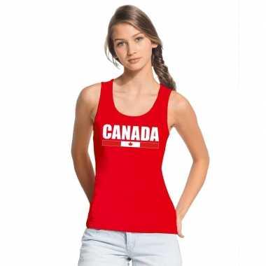 Rood canada supporter singlet shirt/ tanktop dames