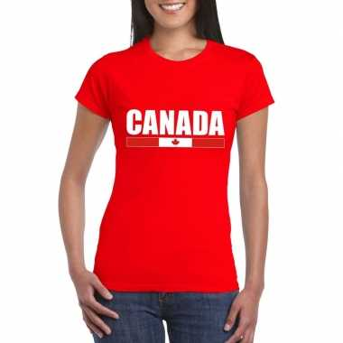 Rood canada supporter t-shirt voor dames