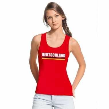 Rood duitsland supporter singlet shirt/ tanktop dames