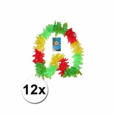 Rood/geel/groen hawaii kransen 12 st