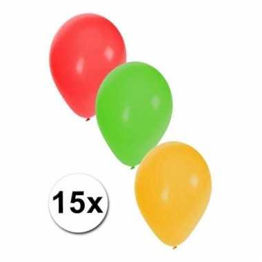 Rood/geel/groene ballonnen 15 stuks