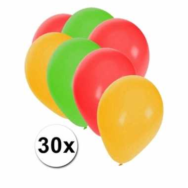 Rood/geel/groene ballonnen 30 stuks