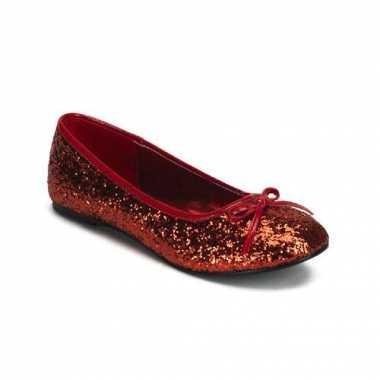 Rood gekleurde ballerina schoenen met glitters