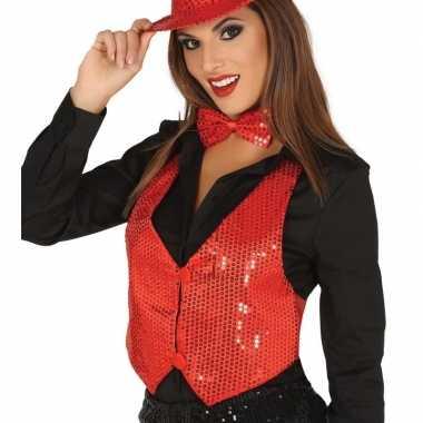 Rood gilet met glitters/pailletten voor dames