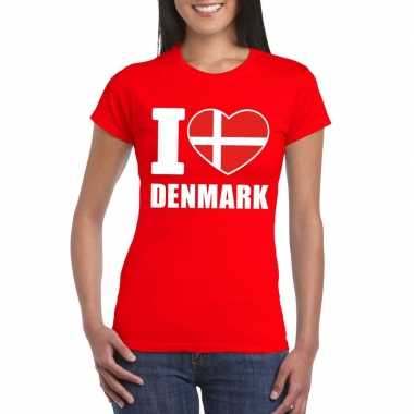 Rood i love denemarken fan shirt dames