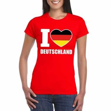 Rood i love duitsland fan shirt dames