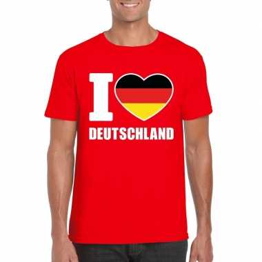 Rood i love duitsland fan shirt heren