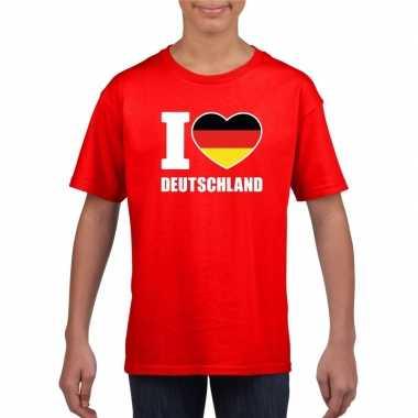 Rood i love duitsland fan shirt kinderen