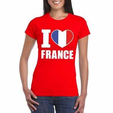 Rood i love frankrijk fan shirt dames