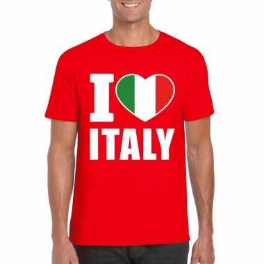 Rood i love italie fan shirt heren
