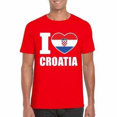 Rood i love kroatie fan shirt heren
