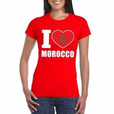 Rood i love marokko fan shirt dames