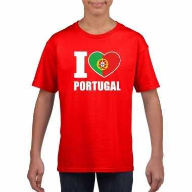 Rood i love portugal fan shirt kinderen