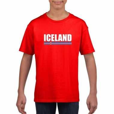 Rood ijsland supporter t-shirt voor kinderen