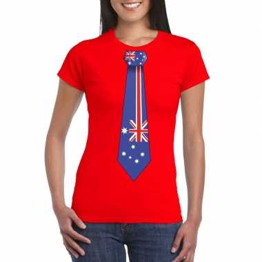 Rood t-shirt met australie vlag stropdas dames