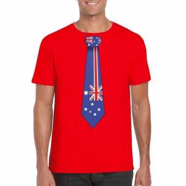 Rood t-shirt met australie vlag stropdas heren