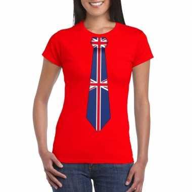 Rood t-shirt met engeland vlag stropdas dames