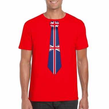 Rood t-shirt met engeland vlag stropdas heren