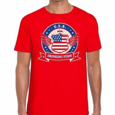 Rood usa drinking team t-shirt heren