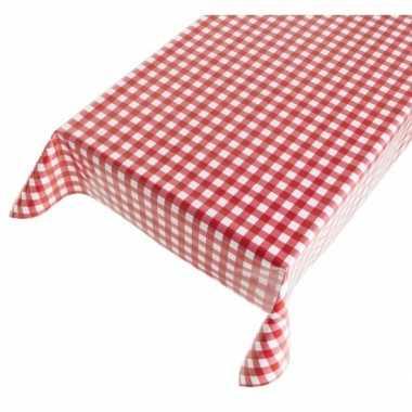 Rood/wit tuin tafellaken voor buiten boerenruiten 140 x 170 cm pvc/ku