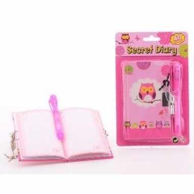 Roze dagboek met uilenprint voor kinderen