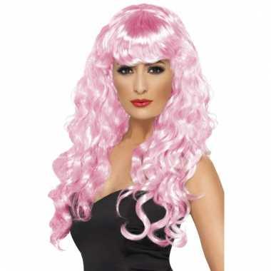 Roze feestpruik voor dames