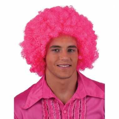 Roze hippie pruik met afro