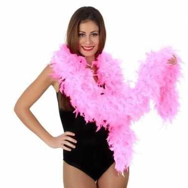 Roze luxe veren boa 180 cm
