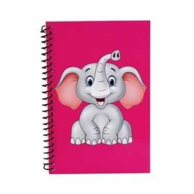 Roze olifanten notitieboekje 18cm