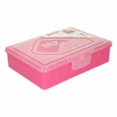 Roze opbergdoos met vakken 33 cm