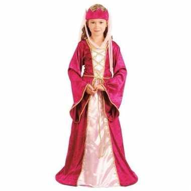 Roze prinsessen jurk met kroon voor meisjes