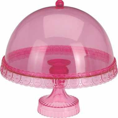 Roze taarthouder met deksel