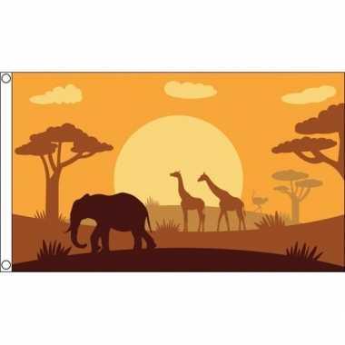 Safari dieren thema africa vlag 90 x 150 cm