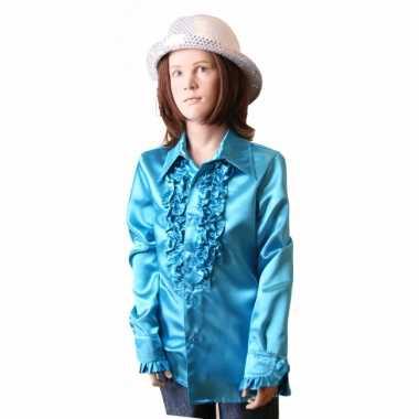 Satijnen blouse blauw meisjes