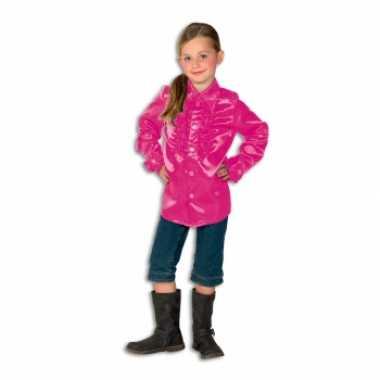 Satijnen blouse roze voor meisjes