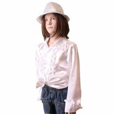 Satijnen blouse wit meisjes