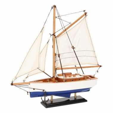 Schaalmodel boot donkerblauw/wit 23 cm