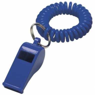 Scheidsrechter fluitje blauw aan polsbandje