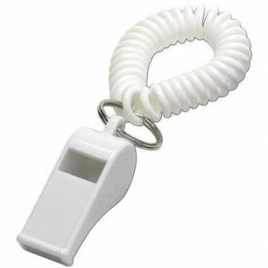 Scheidsrechter fluitje wit aan polsbandje
