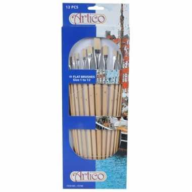 Schilder penselen 12 stuks plat