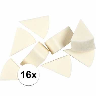 Schminksponsjes wit driehoekig 16 stuks