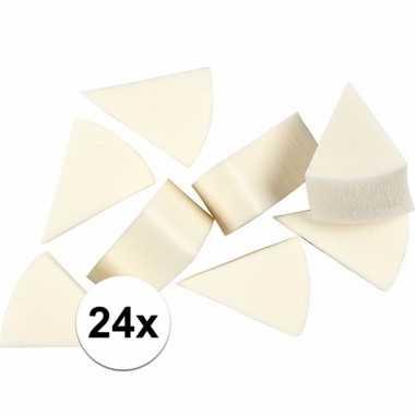 Schminksponsjes wit driehoekig 24 stuks
