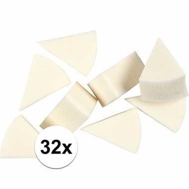 Schminksponsjes wit driehoekig 32 stuks