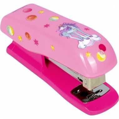 Schoolspullen nietmachine roze met eenhoorn