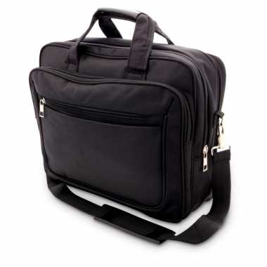 Schoudertas/laptoptas 15,6 inch zwart 20 liter