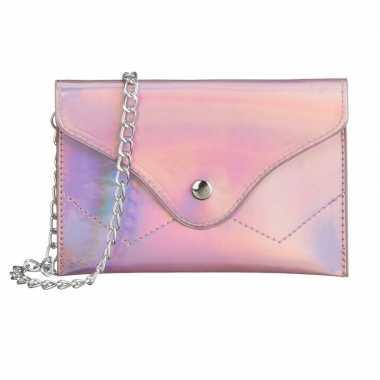 Schoudertasje/handtasje metallic roze 18 cm