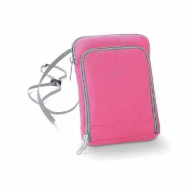 Schoudertasjes roze van polyester